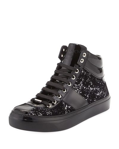 Belgravia Men's Glitter High-Top Sneaker, Black/Silver