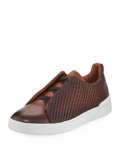 Couture Triple-Stitch Pelle Tessuta Leather Low-Top Sneaker