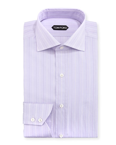 Wide Track-Stripe Cotton Dress Shirt, Lavender