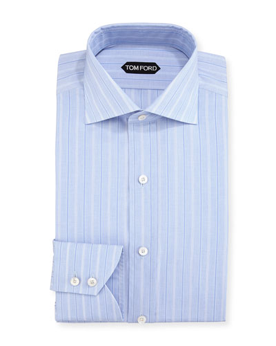 Wide Track-Stripe Cotton Dress Shirt, Blue