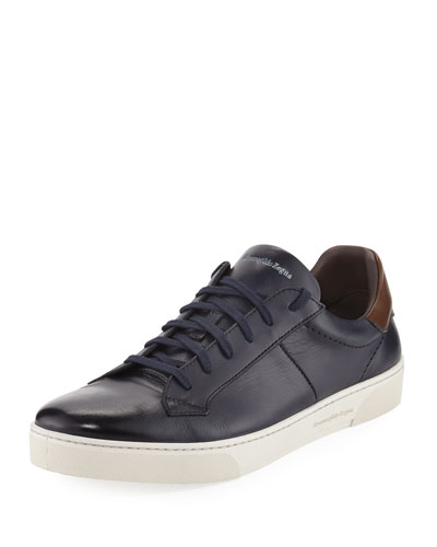 Vittorio Men's Leather Low-Top Sneaker, Navy