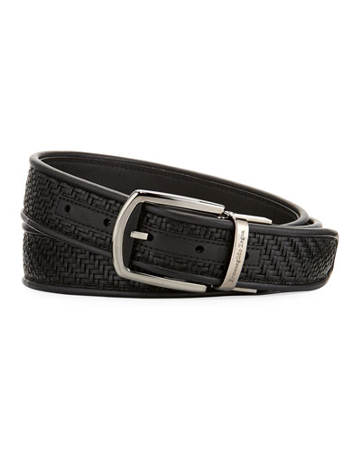 Reversible Pelle Tessuta Leather Belt, Black