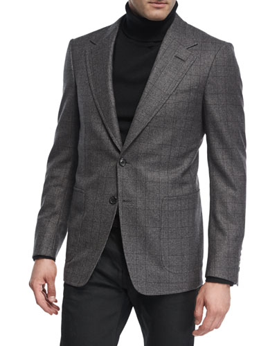 Prince of Wales Plaid Wool Jacket