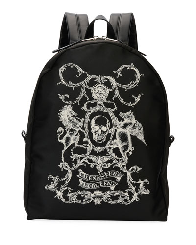 Coat of Arms Backpack, Black/White