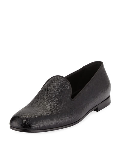 Patent Caviar Leather Formal Loafer, Black