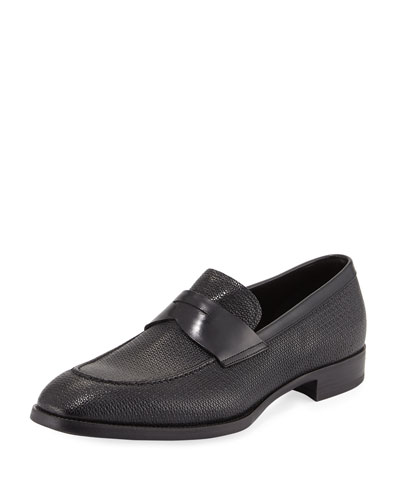 Textured Leather Penny Loafer, Navy