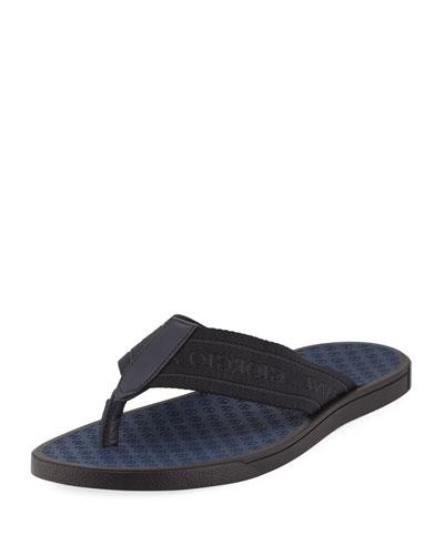 Logo Jacquard Thong Sandal, Black/Blue