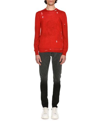 Distressed Crewneck Sweater, Red