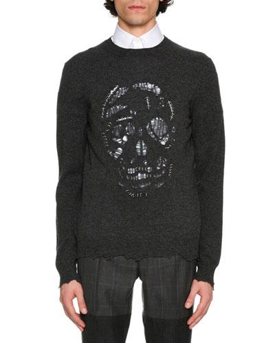 Pierced Skull Crewneck Pullover, Black