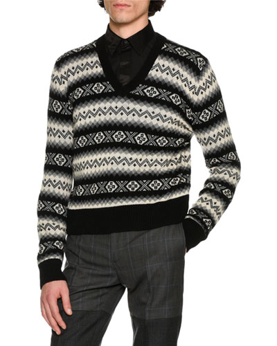 Fair Isle Cashmere V-Neck Sweater, Black/Gray/Cream Multi