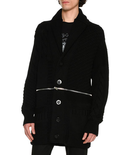 Oversized Zip-Panel Cardigan, Black