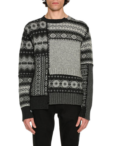 Patchwork Fair Isle Sweater, Gray/Black/Cream Multi