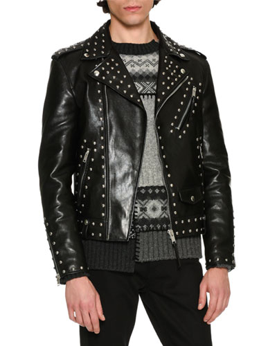 Studded Calf Leather Moto Jacket, Black