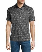 Forest-Print Short-Sleeve Cotton Shirt, Black