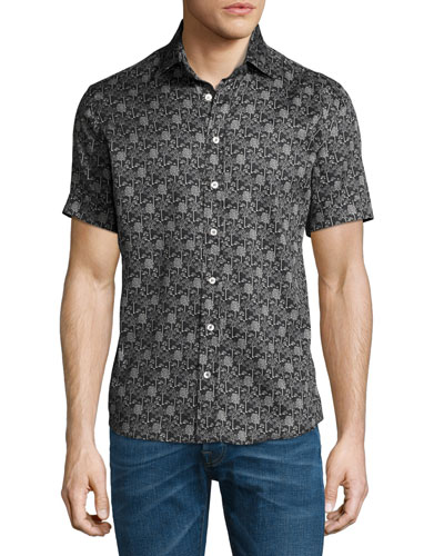 Forest-Print Short-Sleeve Cotton Shirt, Black