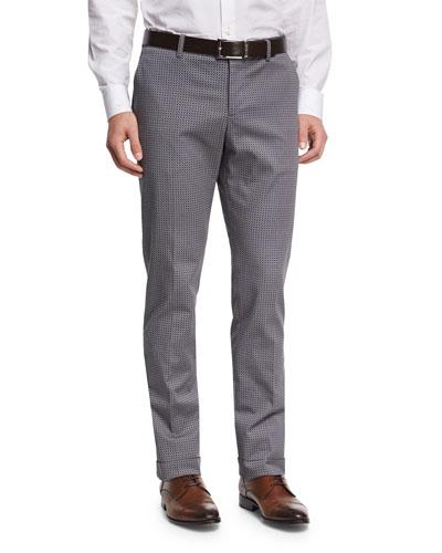 Micro-Paisley Pine Cotton Pants, Gray
