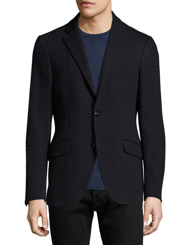 Diamond-Knit Cotton Blazer