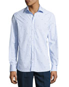 Bird-Embroidered Cotton Shirt, Blue
