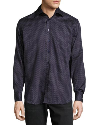 Lined-Dot Cotton Shirt, Navy
