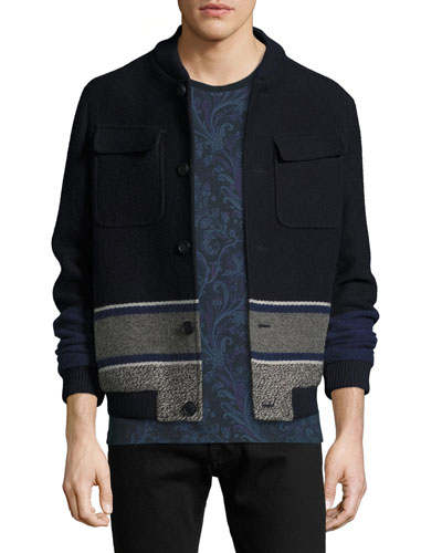 Wool Blanket-Stripe Bomber Jacket, Navy