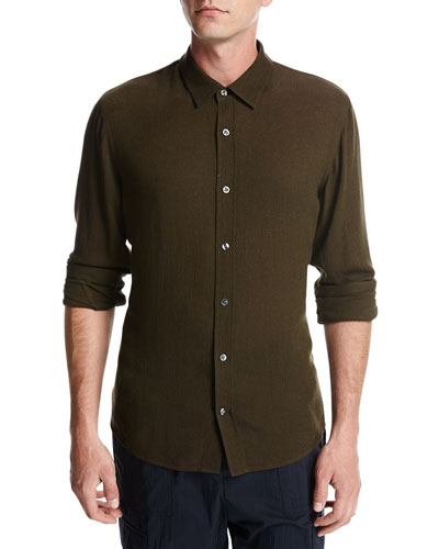 Viscose-Wool Button-Front Shirt, Olive
