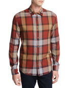 Buffalo Plaid Sport Shirt, Orange