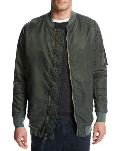 Elongated Aviator Jacket, Green/Orange