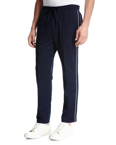 Drawstring Track Pants, Navy