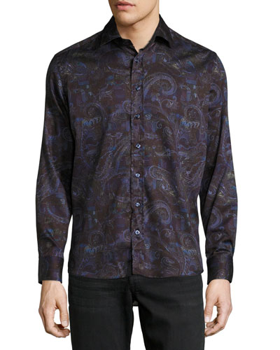 Multi Paisley-Print Long-Sleeve Sport Shirt, Purple