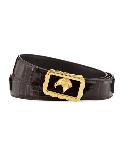 Crocodile Leather Eagle-Buckle Belt