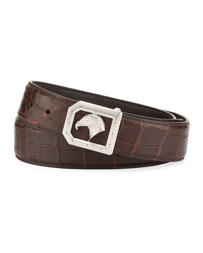 Eagle-Buckle Crocodile Belt, Brown