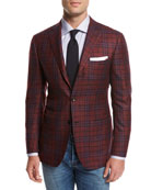 Plaid Cashmere-Silk-Linen Sport Coat, Red