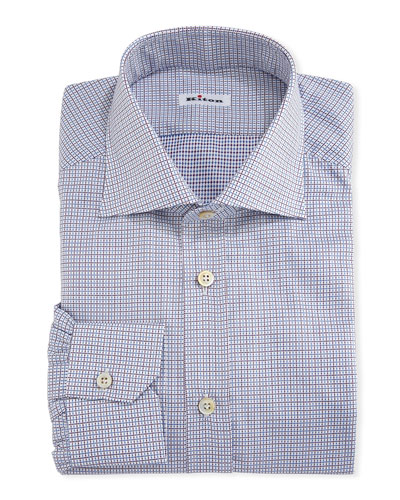 Graph-Check Cotton Dress Shirt, White/Red/Blue