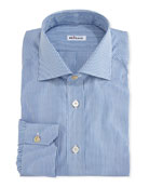 Micro-Check Cotton Dress Shirt, White/Blue