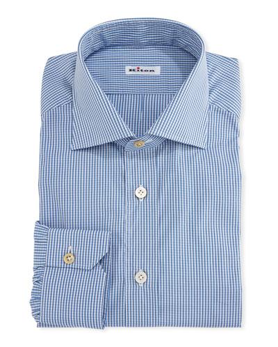 Micro-Check Cotton Dress Shirt, White/Blue