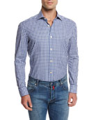 Check Cotton Shirt, Purple
