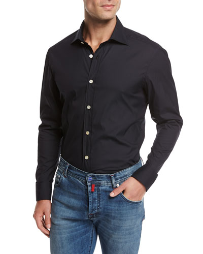 Solid Cotton Shirt, Navy Blue
