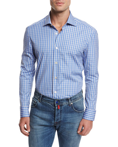 Plaid Cotton Shirt, Blue
