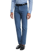 Washed Stretch-Denim Straight-Leg Jeans