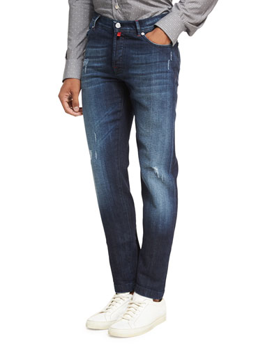Distressed Denim Straight-Leg Jeans