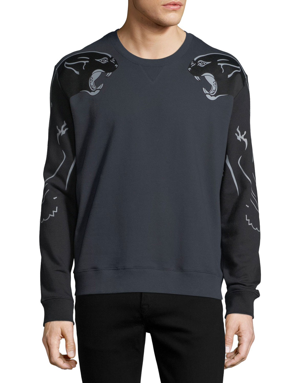 Two-Tone Panther Sweatshirt, Navy