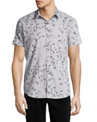 Zack S. Leaflet Linen-Cotton Short-Sleeve Shirt, Gray
