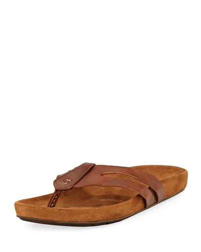 Artisan Leather Thong Sandal, Brown