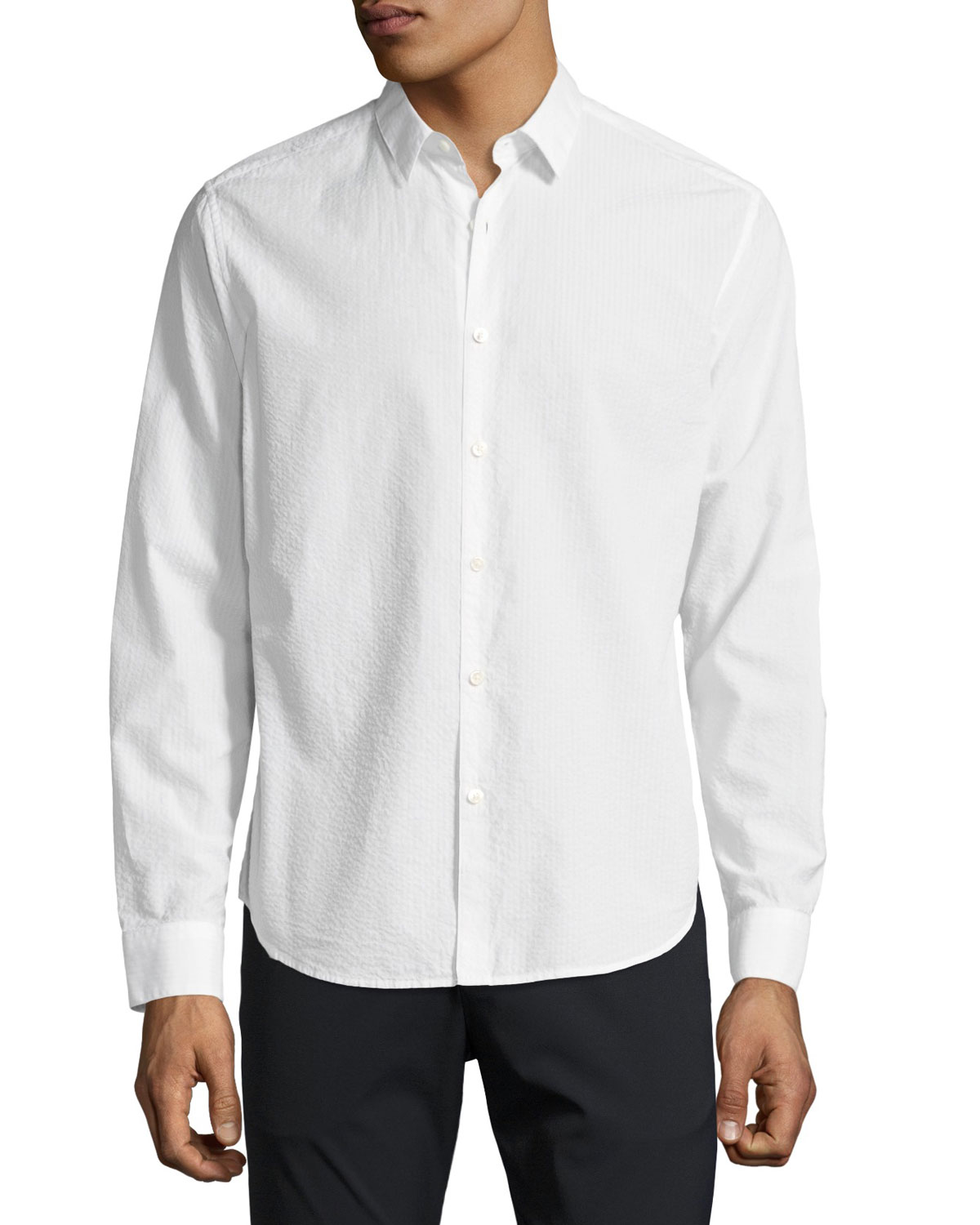 Zack Seersucker Cotton Shirt, White