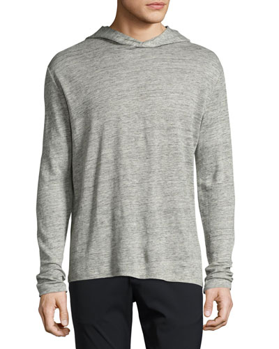 Colton Zephyr Melange Linen Pullover Hoodie, Gray
