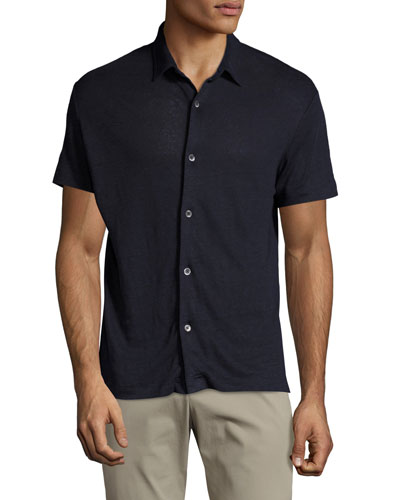 Zephyr Linen Short-Sleeve Shirt, Navy