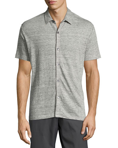 Zephyr Linen Knit Button-Front Shirt, Gray