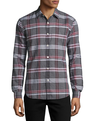 Rammy Mantra Plaid Linen-Cotton Shirt, Gray