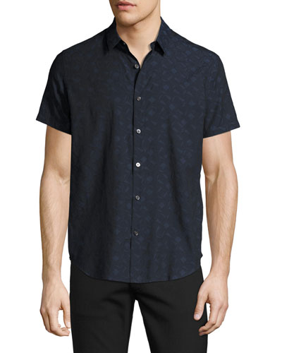 Zack S. Geo-Jacquard Short-Sleeve Shirt, Multi