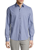 Sylvain Gingham Dobby Slim Shirt, Navy